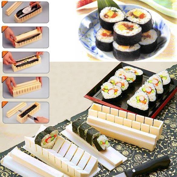 Kitchen Accessories Maquina De Costura free Shipping Diy Sushi Master Maker Rice Mold Kitchen Making Machine 11 Tool Set j384(China (Mainland))