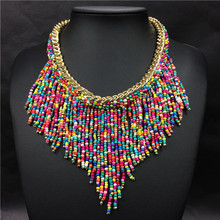 2016 Fashion Jewelry Mujer New Bohemian Necklaces Women Handmade Handwoven Collier Long Tassel Beads Choker Statement Necklaces(China (Mainland))