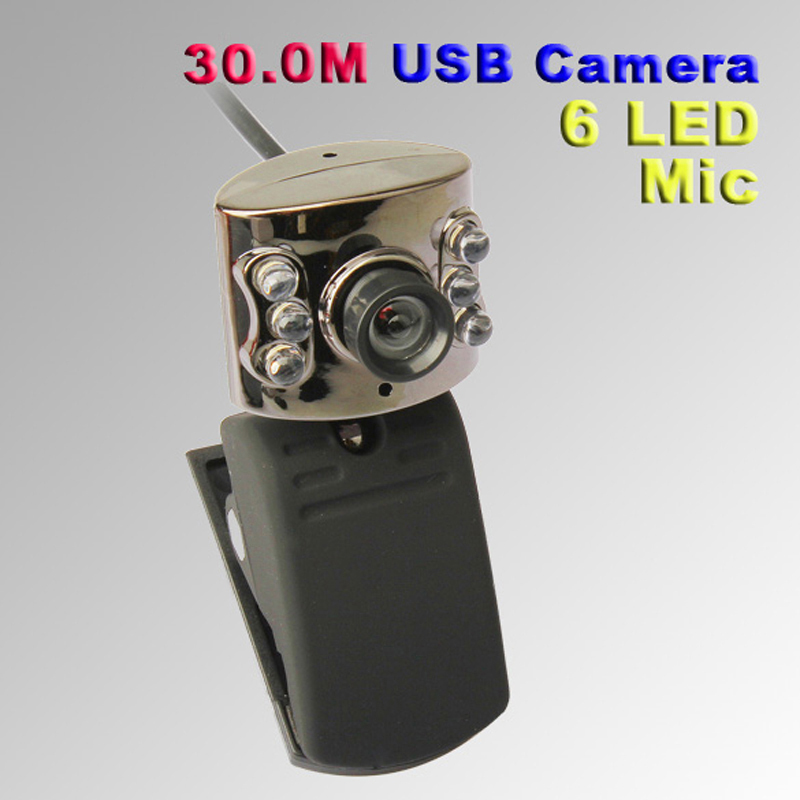 UN2F USB 30.0M 6 LED Webcam Camera With Mic Web Cam for Desktop PC Laptop Notebook Free Shipping(China (Mainland))