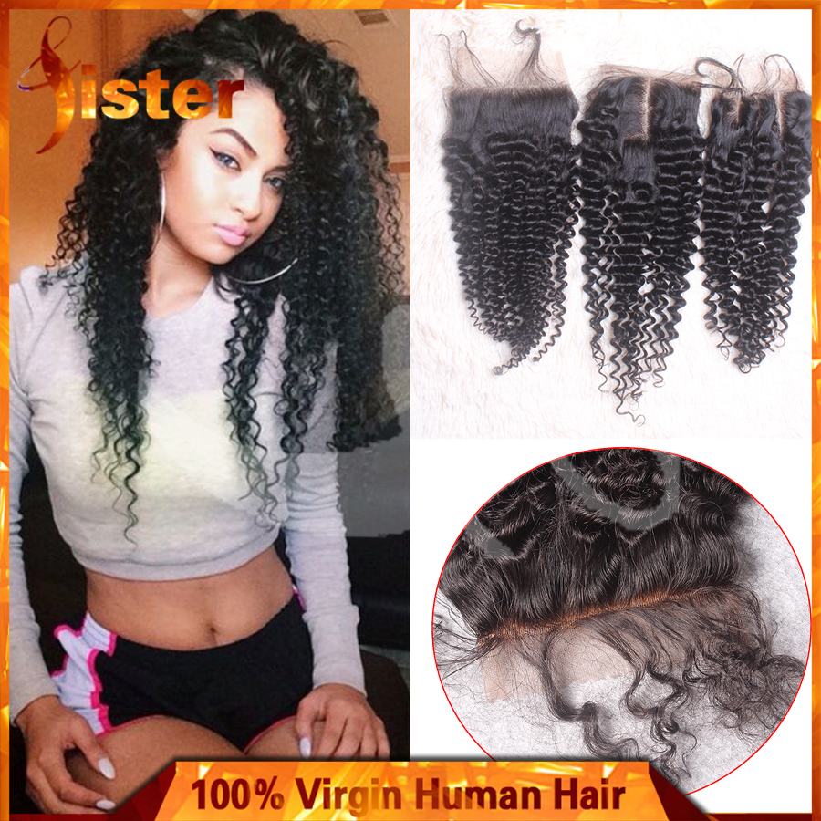 Virgin Mongolian Kinky Curly Hair Closure Mongolian Human Hair Kinky Curly Lace Closure With Bleached Knots Free Middle 3 Part