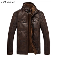 Buy Jaqueta De Couro Masculina Men Leather Jacket Fur Coat Middle-aged Leather PU Jacket Coat Stand Collar Size Male 3XL 4XL 13M0647 for $49.99 in AliExpress store