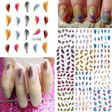 Colorful Womens Beauty Leopard Water Transfer Nail Art  Stickers  Tips Feather Decals  1Q8C