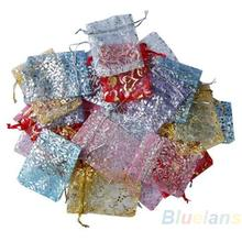 25pcs set Organza Jewelry Wedding Gift Pouch Bags 7x7cm 3X3 Inch Mix Color for Party Holiday