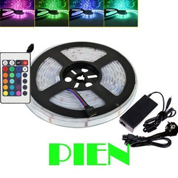 IP68 5050 rgb led strip tira de tape fita 5m silicon tube underwater pool luz waterproof 12v + remote Power adapter Free Ship