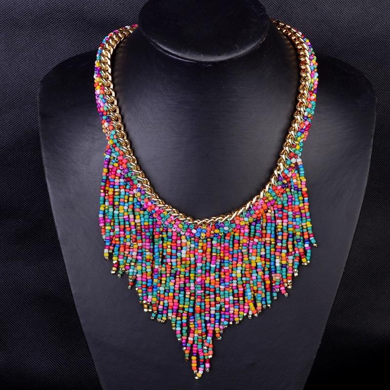 New Bohemian Bead necklaces Women Handmade Collier Femme Long Tassel Choker statement Necklace 2015 Fashion Jewelry Mujer(China (Mainland))