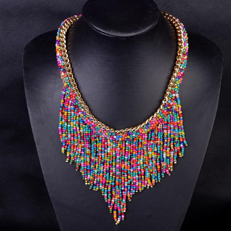 New Bohemian Bead necklaces Women Handmade Collier Femme Long Tassel Choker statement Necklace 2015 Fashion Jewelry Mujer(China (Mainland))