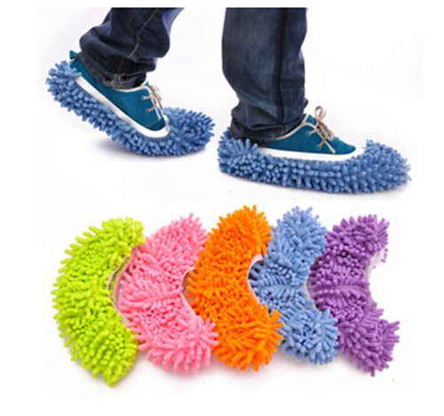 1 pair Microfiber Chenille Dust Cleaner House Bathroom Floor shoes cover Cleaning Mop Cleaner Slipper Lazy Shoes Cover Mophead(China (Mainland))