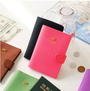 2015 PU Leather Unisex Fashion New cute Ribbon Passport Holder Documents Bag Sweet Trojan Travel Cover Card Case(China (Mainland))