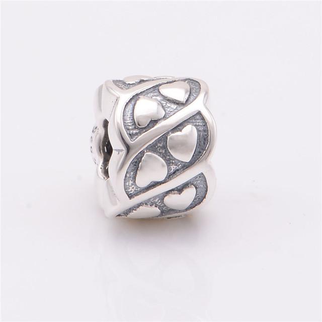 100% 925 серебряные ювелирные круглый бусины с сердцем шаблон DIY выводы ввбр женщины подходит европейским очаровывает браслеты