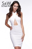 5 Colors 3 Sizes Summer Cross Front Halter Bodycon Dress Ladies crossover V-neck high waist cut out dress 35