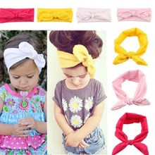 15 Colors Baby Toddler Sweet Girl Kids Bow Hairband Turban Knot Rabbit Headband Headwear 1 pc (China (Mainland))