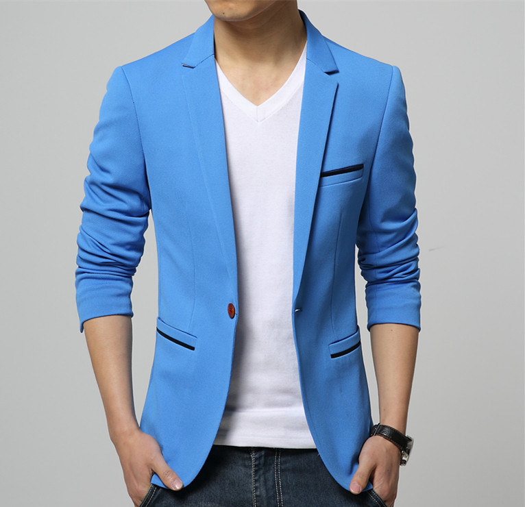 Mens Korean slim fit fashion cotton blazer Suit Jacket black blue beige plus size M to 6XL Male blazers Mens coat Wedding dress(China (Mainland))