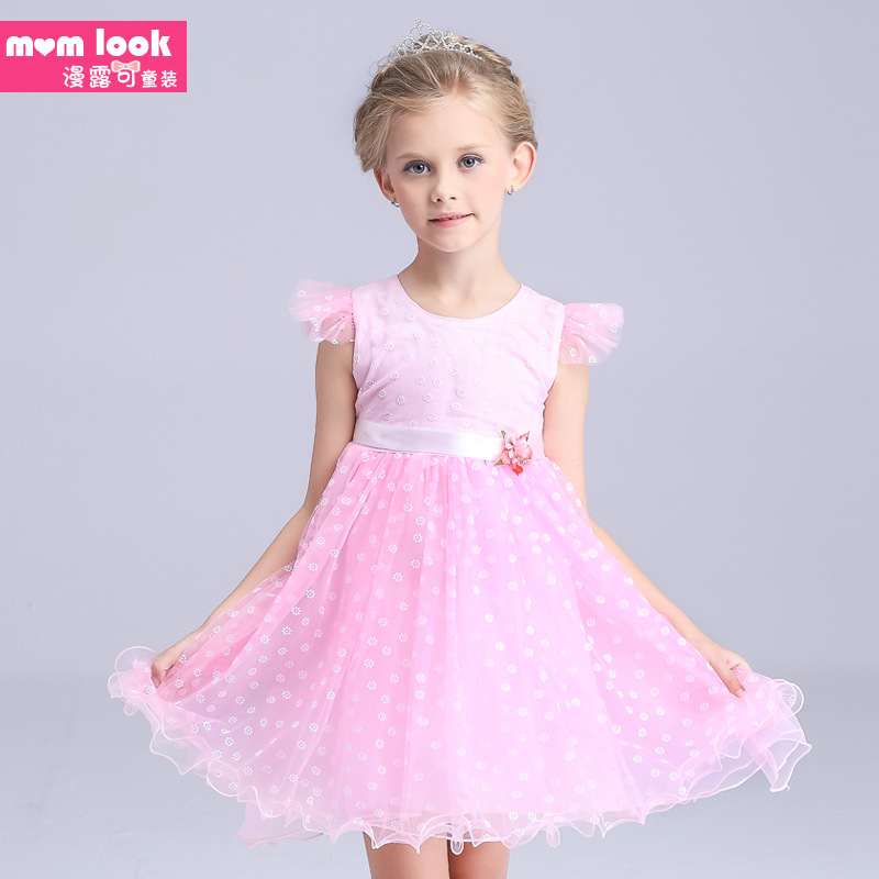 Hot sale 2016 Summer Girls Birthday Party candy colour One-Piece Dresses Princess baby girl Children Clothes Kids Baby Clothing(China (Mainland))