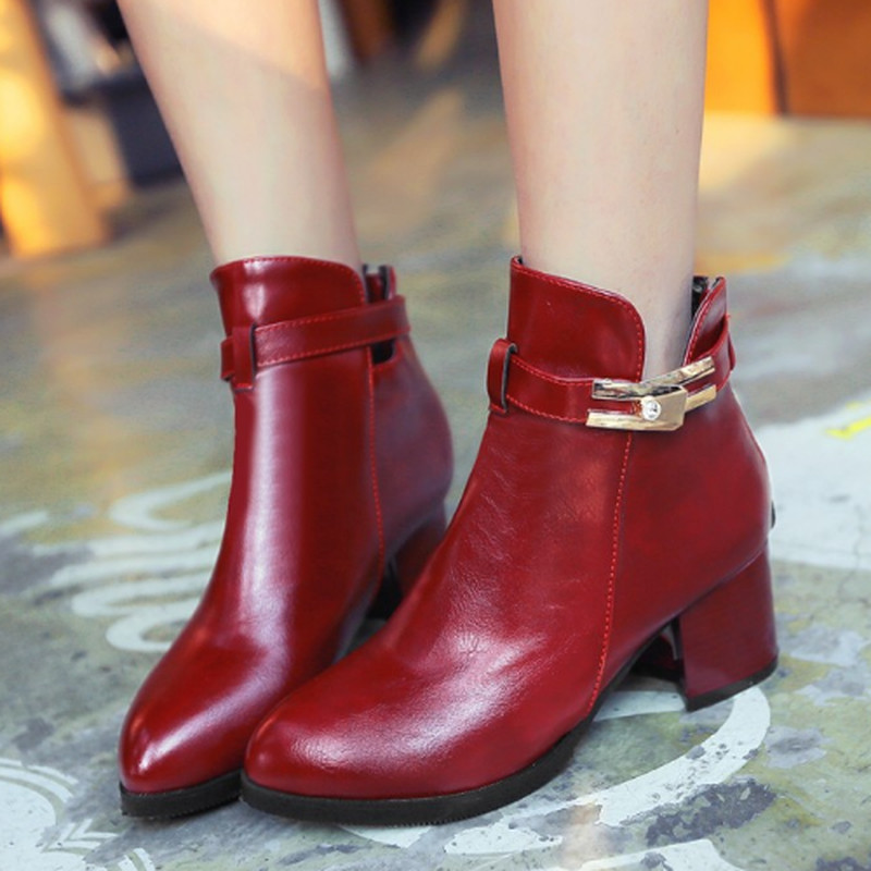 New Arrival Woman Sexy Solid Square Med Heel Ankle Boots High Quality Woman Winter Pointed Toe Boots Zip Buckle Dress Shoes