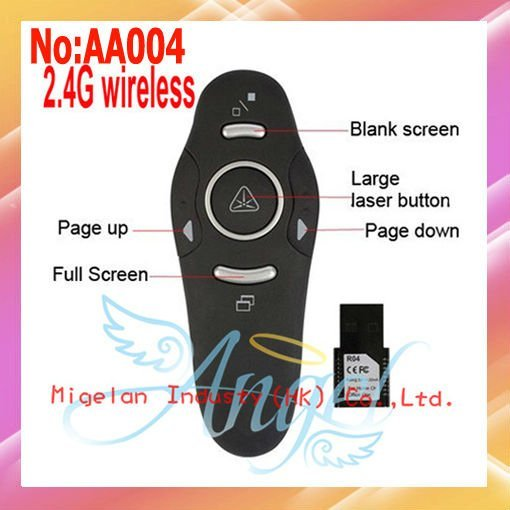 2.4G Wireless Red Laser Pointer Presenter,PPT Remote Control wireless laser Presenter With Plug And Play Free shipping  #AA004