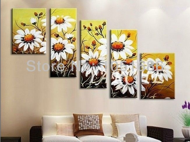 Hand Painted Modern Abstract Art Oil Painting Mums Flowers