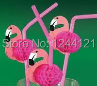 HOT!! FREE FREIGHT FAST REACHING Cocktail Flamingo Decorations Red&Pink Paper Straws, Cupcake Stand, Hot Decorations Straws!!(China (Mainland))