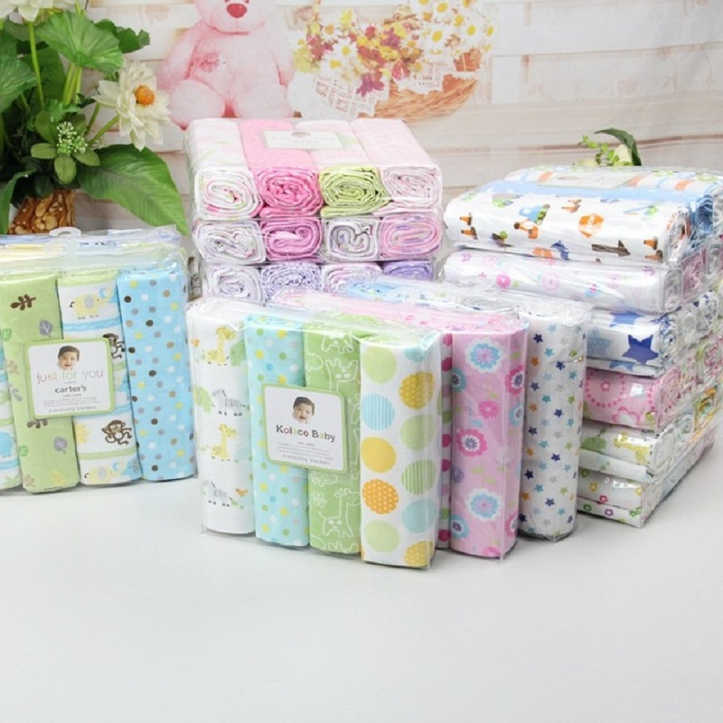 2016 carters100%cotton flannel baby blanket 4pcs/pack carters receiving newborn colorful cobertor baby bedsheet 76x76cm<br><br>Aliexpress