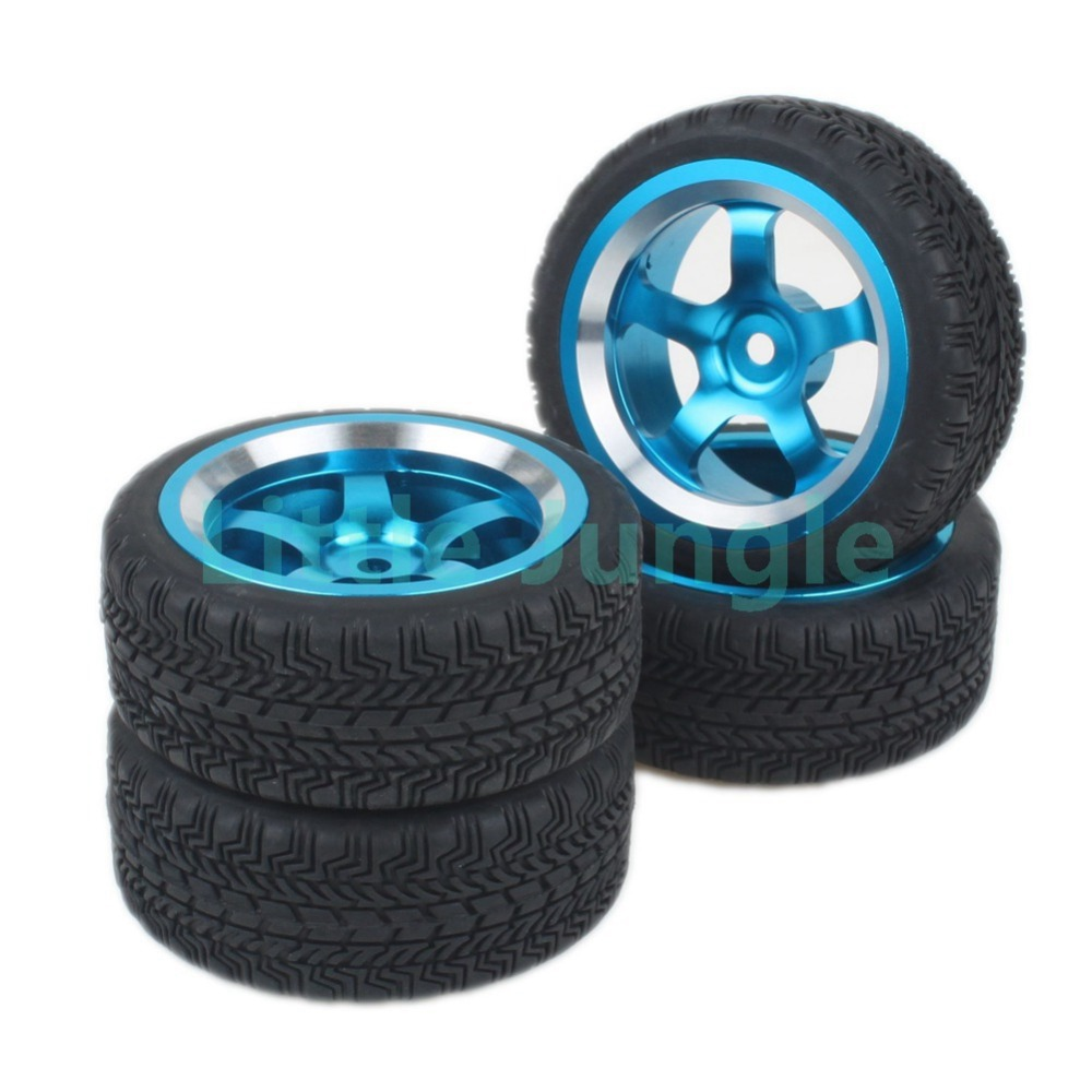 4Pcs 1:10 RC Racing Flat Car High Grip Rubber Tires with Blue Aluminum Alloy 5 Spokes Wheel Rims(China (Mainland))