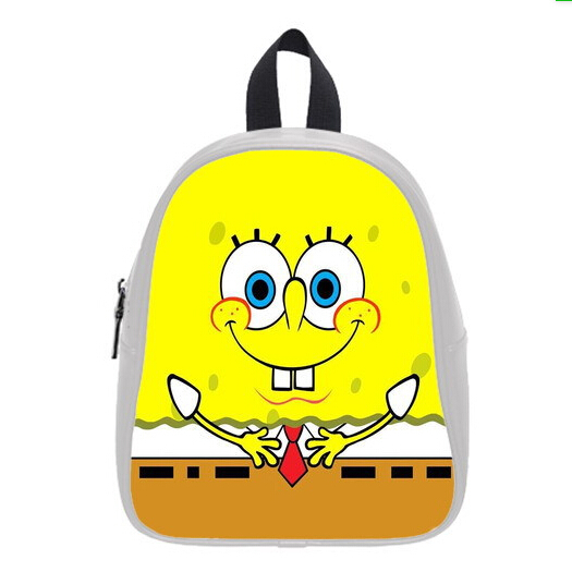 Free Shipping Hot Sale Watercolor Backpacks Custom Stylish Cartoon Spongebob School Bag For Boys Girls PC-0378(China (Mainland))