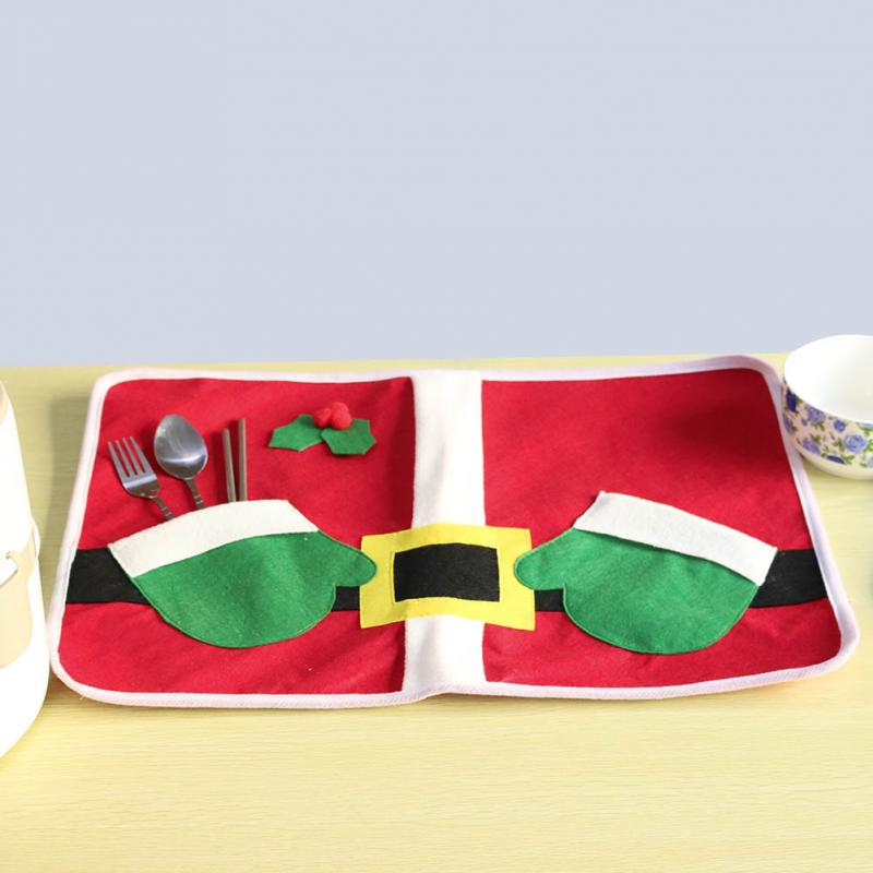 Christmas Santa Claus Costume Table Placemat Hand Bags Holiday Table Placemats Setting Mat Cutlery Holder(China (Mainland))