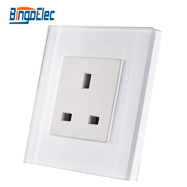 UK 13A wall socket ,white Crystal toughened glass panel power socket,13A wall socket,220V,CE,(China (Mainland))