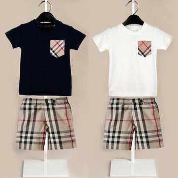New Baby Boy Clothes Brand Baby Boy Clothing Set Boys Clothes Infant Short Sleeve T Shirt + Plaid Pants Casual Boy Sport Suit(China (Mainland))
