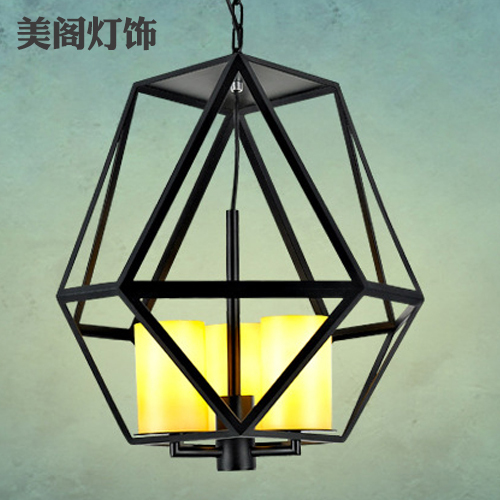 Nordic American country style retro industrial loft marble cage chandelier lamp wrought iron chandelier cafe bar table(China (Mainland))
