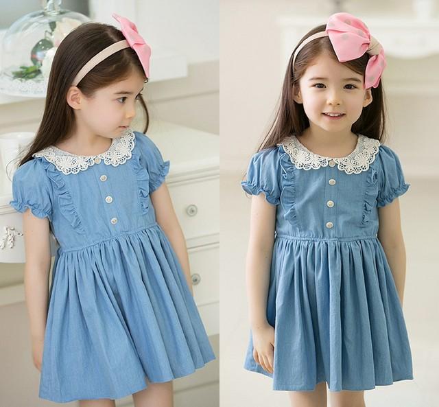 Бесплатная доставка 2014 новая детская девушка летняя одежда школа стиль джинсы платье принцессы / ну вечеринку платья одежда для девочек