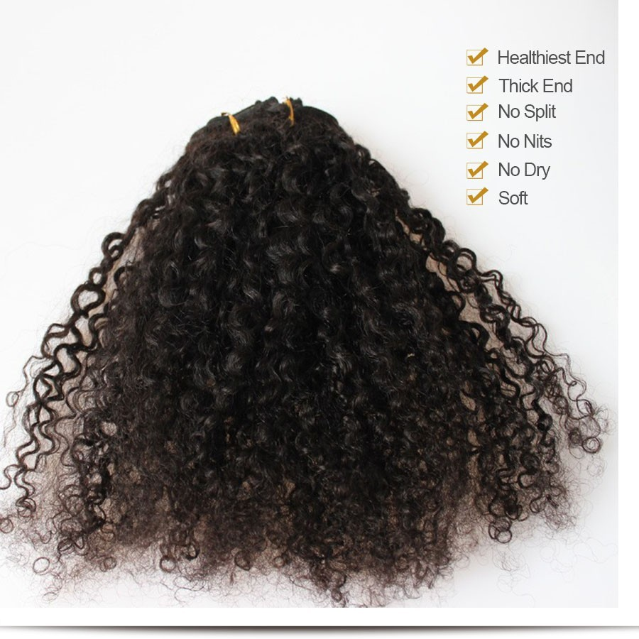 Clip In Human Hair Extensions 7Pc Brazilian Virgin Hair American 3B 3C Kinky Curly Clip In Human Hair Extensions Clip Ins