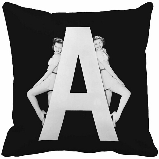 Popular Design Black and White Women with Huge Letter A Home Decorative Throw Pillow Case Zippered