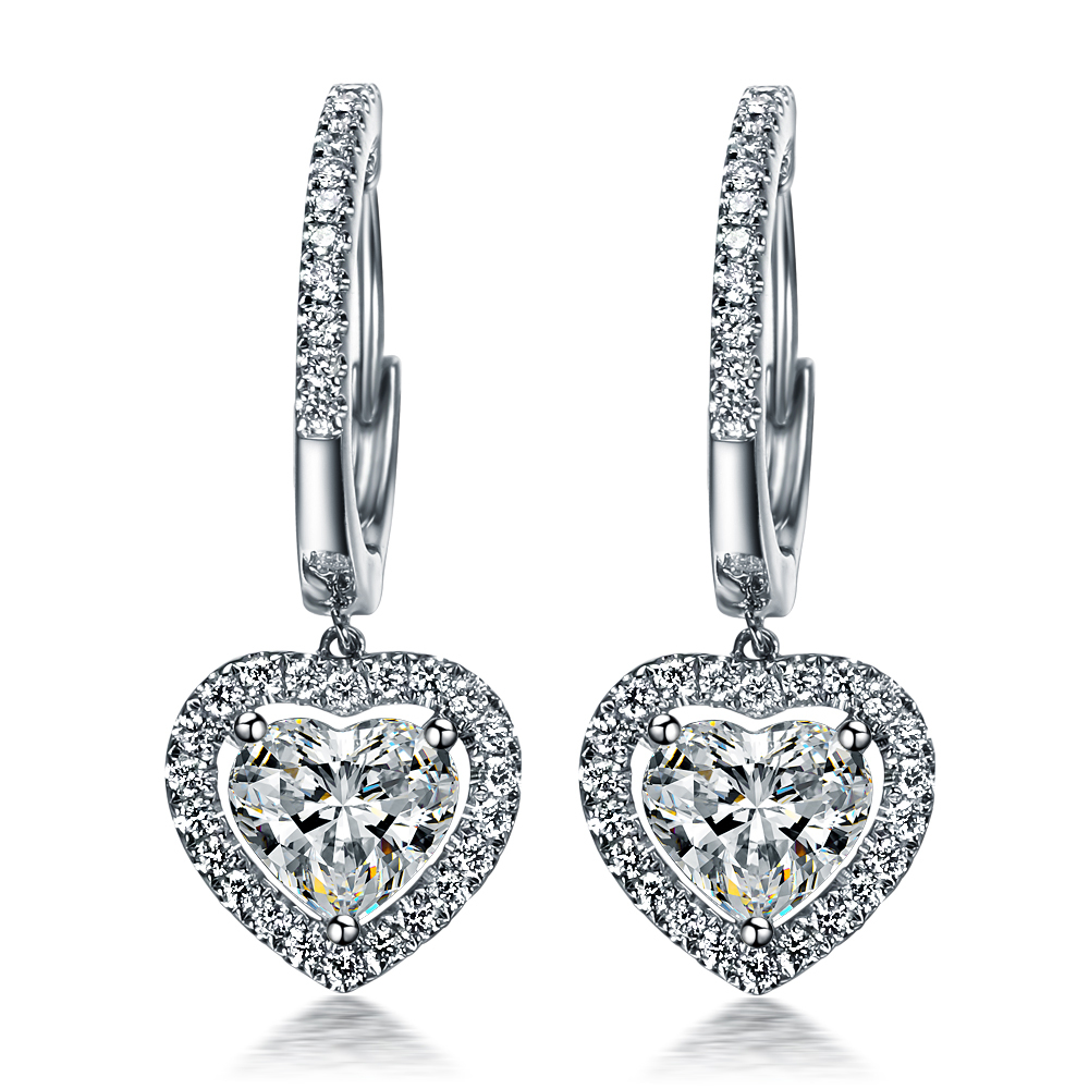 3CT Dangle Earrings Heart Synthetic Diamond Dangle ...