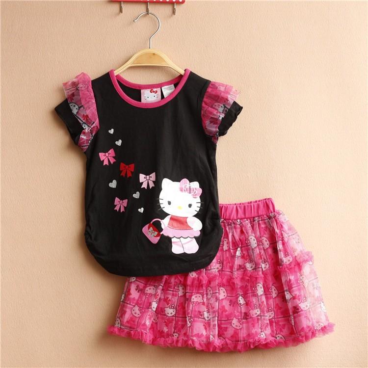 2016 fashion toddler baby girls summer clothing sets 2pcs girls summer clothes set kids Cartoon Cat suit set tracksuit set(China (Mainland))