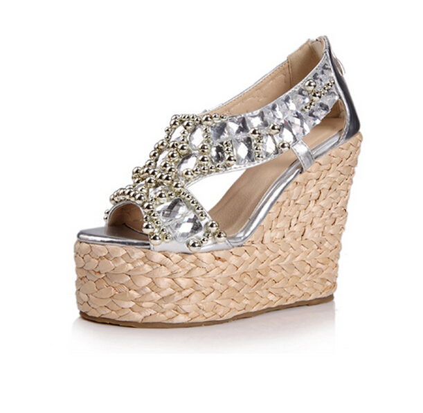 summer new bohemian beaded rhinestone sandals thick crust slope with a single shoe slope with high-heeled sandals fish head w667(China (Mainland))