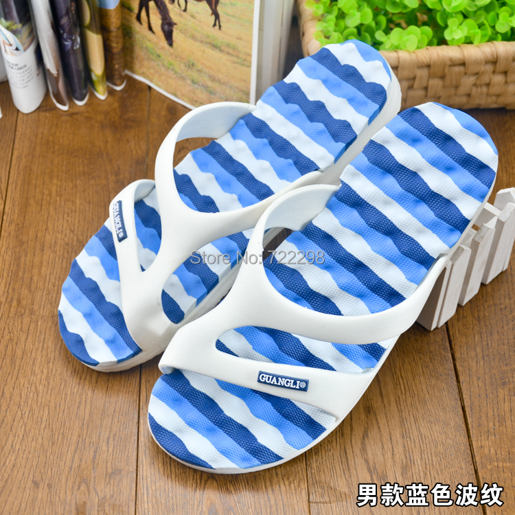 2015 summer hot blue white patchwork design outdoor men slippers EVA+PVC flip flops casual shoes leisure flats plus size - Shenzhen Huatong Luxury Department store