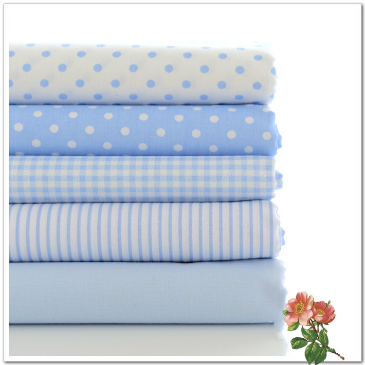 5pcs 40*50cm Bule Grid Stripe Printed Cotton Fabric Sewing Tissue Telas Para Patchwork Quilting Textile Costura Felt Tilda Doll(China (Mainland))