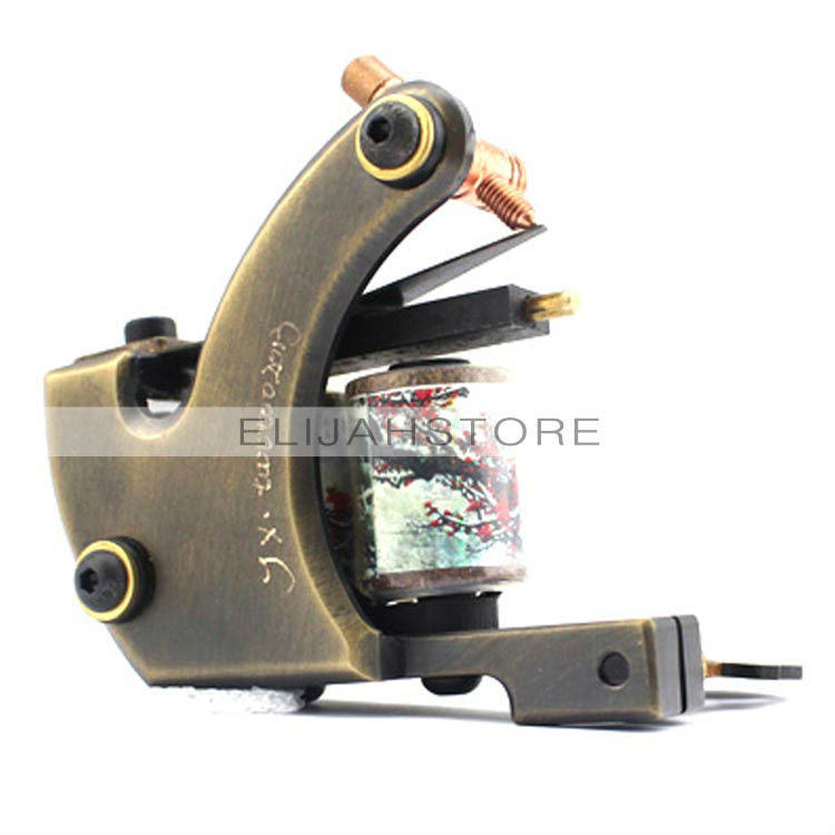 8808 Copper Carved Lettering Tattoo Machine Gun 12 wrap coils China Post Free<br><br>Aliexpress