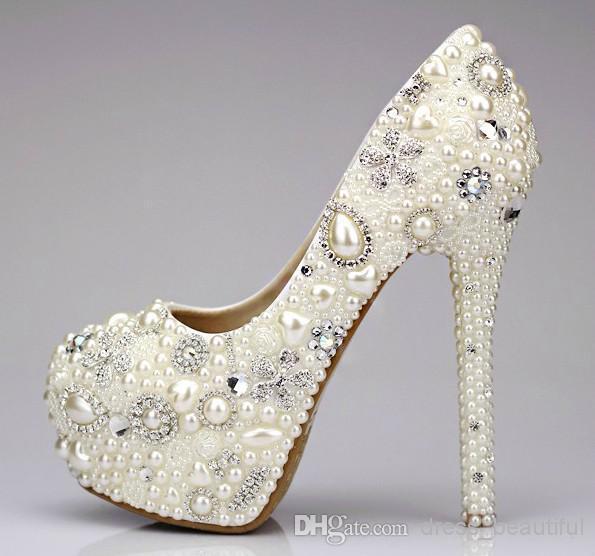 Sweet Pearl Crystal Beaded Round Toe Ladys Formal Wedding Shoes Womens High Heels Bridal