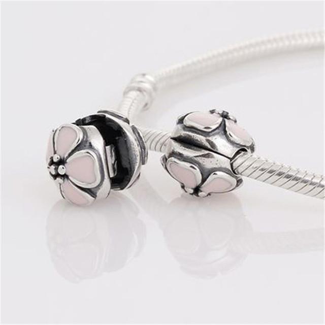 Fit подвески пандора браслет 925 серебряные ювелирные изделия клип бусины с розовым вишни шарма DIY ювелирных украшений выводы KT074-N
