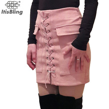 Buy Top Womens Autumn Lace-up Pencil Skirt 2016 Winter Fashion Cross High Waist Mini Skirt Split Bodycon Short Skirts for $9.09 in AliExpress store