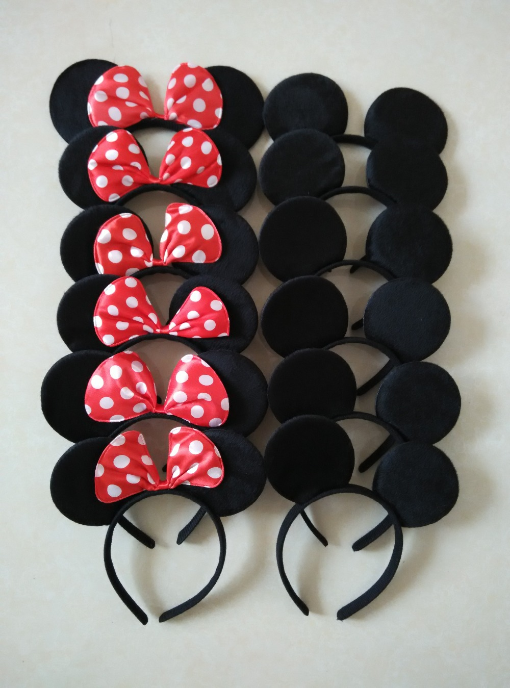 12pcs Hair Accessories Mickey Minnie Mouse Ears Solid Black & Red Bow Headband for Boys and Girls Birthday Party or Celebrations(China (Mainland))