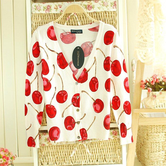 Women Cherry Printed Cardigans beautiful women's patterns knitted sweaters thin warm V neck cotton jacket WS-015(China (Mainland))