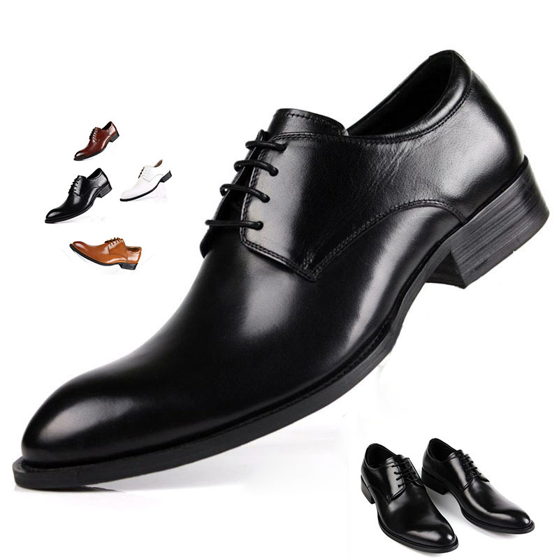 New men's dress shoes head layer cowhide leather shoes shoes the quality of three bags shoes.