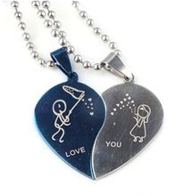 New Fashion Jewelry Stainless Steel Love Heart Shaped Couple Lovers Pendant Necklace Women For Sale