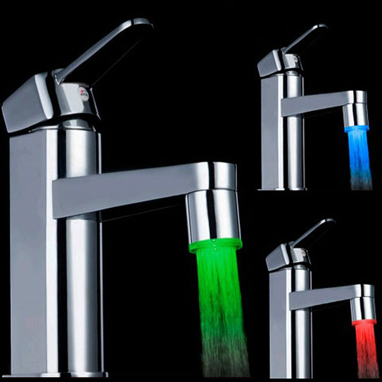 Glow LED Water Faucet Shower Light kitchen Tap Temperature Sensor Colorful # ZH118(China (Mainland))