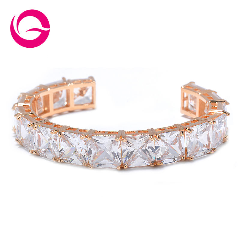 Top Quality Brand Jewelry Hot Trendy Style Rose Gold Plated Big AAA Square CZ Crystal Bracelets Bangles for Party Gift GLS0565<br><br>Aliexpress