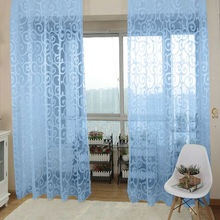 ASLT Free Shipping New Arrival Beautiful Decorations Solid Sweet Floral Tulle Voile Door Window Curtains(China (Mainland))