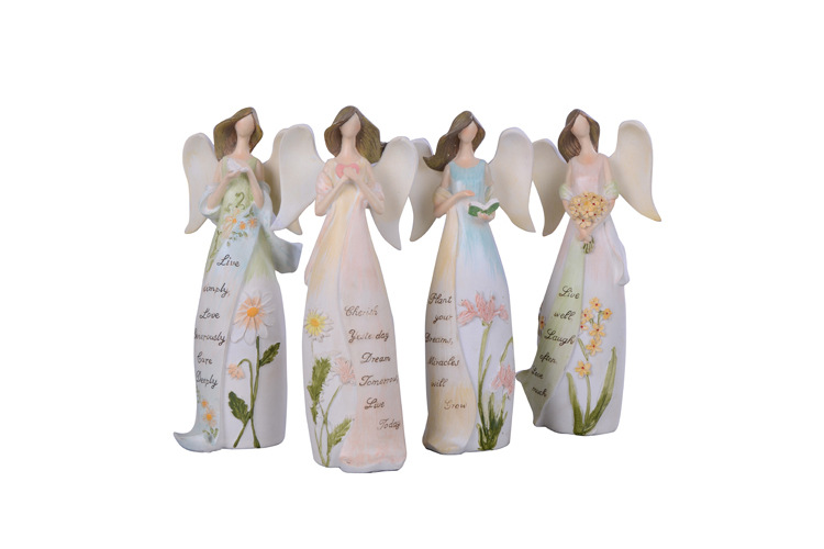 Wholesale Resin Flower Angel Crafts for Home Accessories Desktop Decoration & Birthday Gift Miniature Fairy Garden Decorations(China (Mainland))