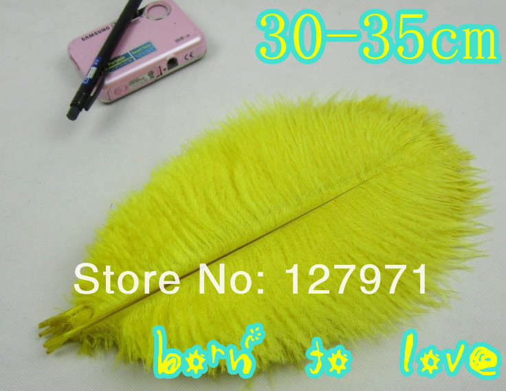 - 5lot 12-14inches/30-35cm yellow ostrich feathers wedding decor tang xiao's store