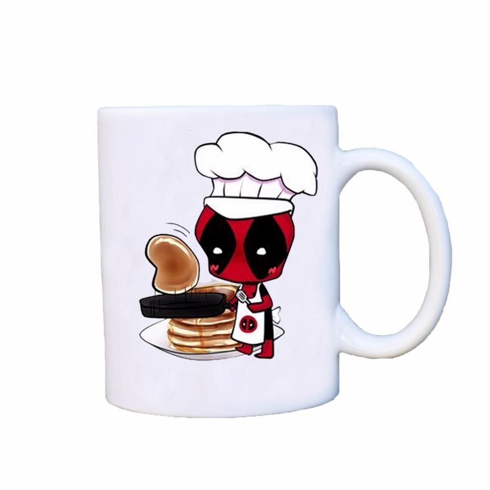 deadpool cooker chief magic coffee mugs morph cup gifts magical heat sensitive Black colour change morphing Tea Cups white mug(China (Mainland))
